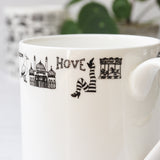 Brighton rim illustrated black and white mug