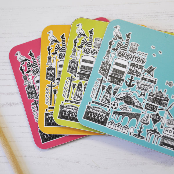 Brighton colourful coasters - set of four