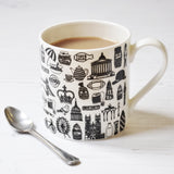 British Illustrated Black And White Mug