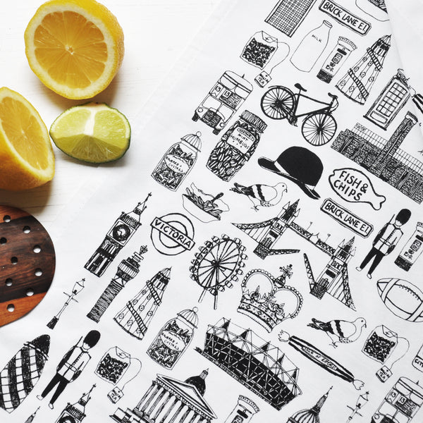British Illustrated Black And White Tea Towel