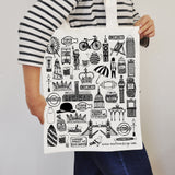 British Illustrated Black And White Tote Bag
