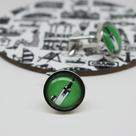 Illustrated Cricket Bat And Ball Cufflinks