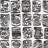 Crisps illustrated black and white print