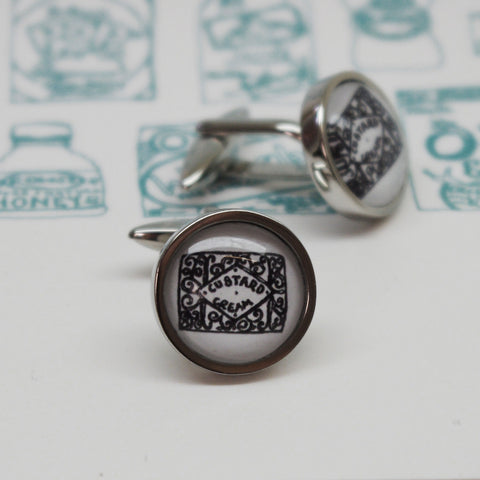Illustrated Custard Cream Cufflinks