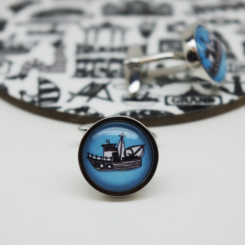Illustrated Fishing Boat Cufflinks