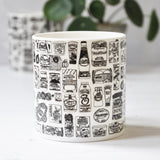 Kitchen food cupboard illustrated black and white mug