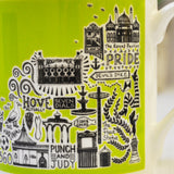 Brighton green illustrated mug