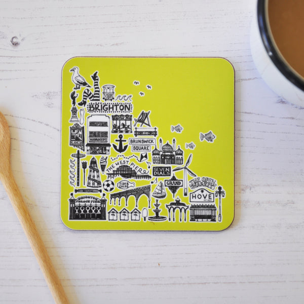 Brighton green illustrated coaster