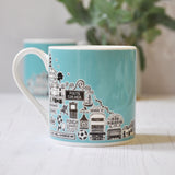 Hove blue illustrated mug