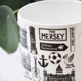 Liverpool illustrated black and white mug