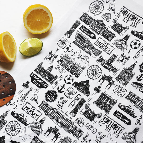 Liverpool Illustrated Black And White Tea-Towel
