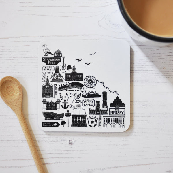 Liverpool black and white illustrated coaster