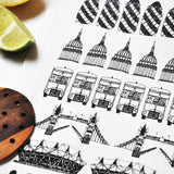 London Illustrated Black And White Tea Towel