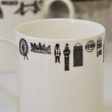 London illustrated black and white mug