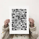 Manchester illustrated black and white print