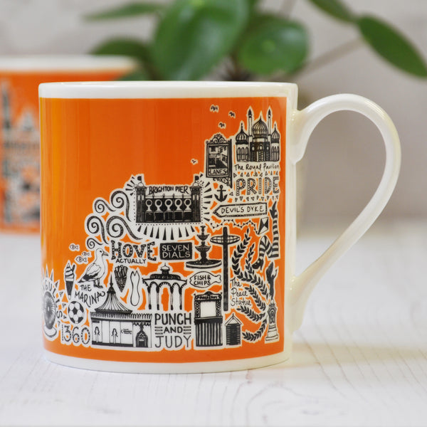 Brighton orange illustrated mug