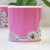 Brighton pink illustrated mug