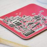 Brighton pink illustrated coaster