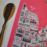Brighton pink illustrated tea towel