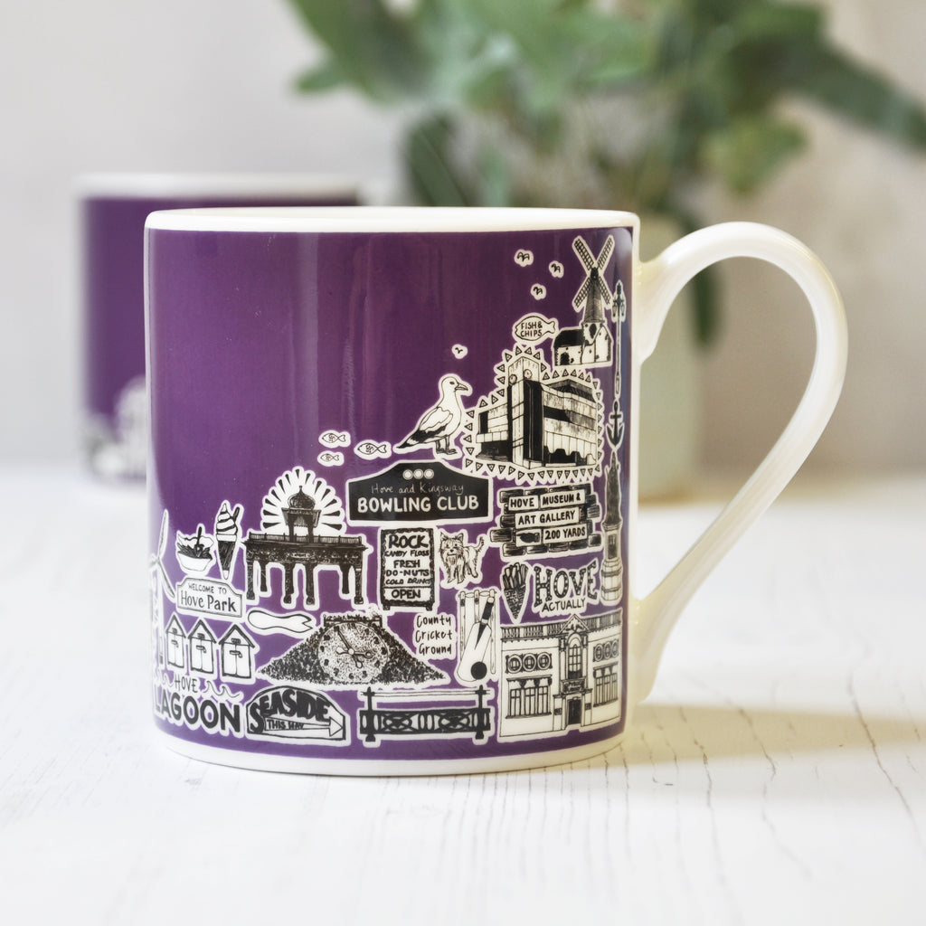 Hove purple illustrated mug