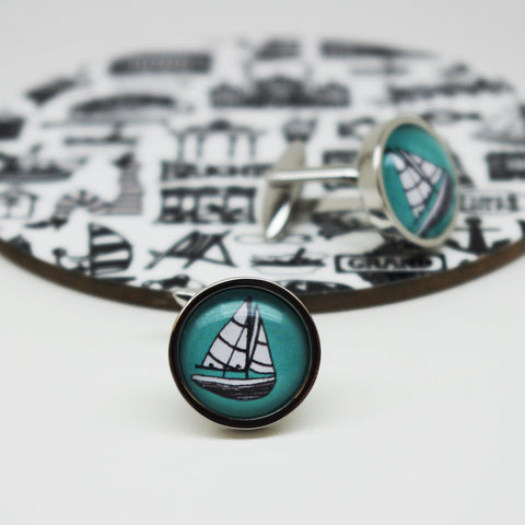 Illustrated Sailing Boat Cufflinks