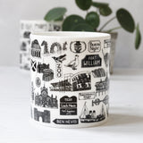 Scottish illustrated black and white mug