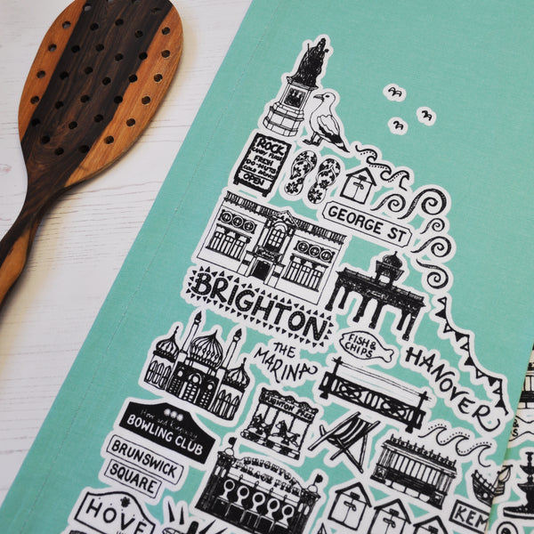 Brighton turquoise illustrated tea towel