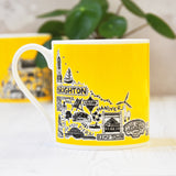 Brighton Yellow Illustrated Mug