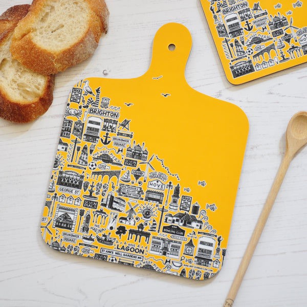 Brighton yellow mini chopping board