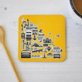 Brighton yellow illustrated coaster
