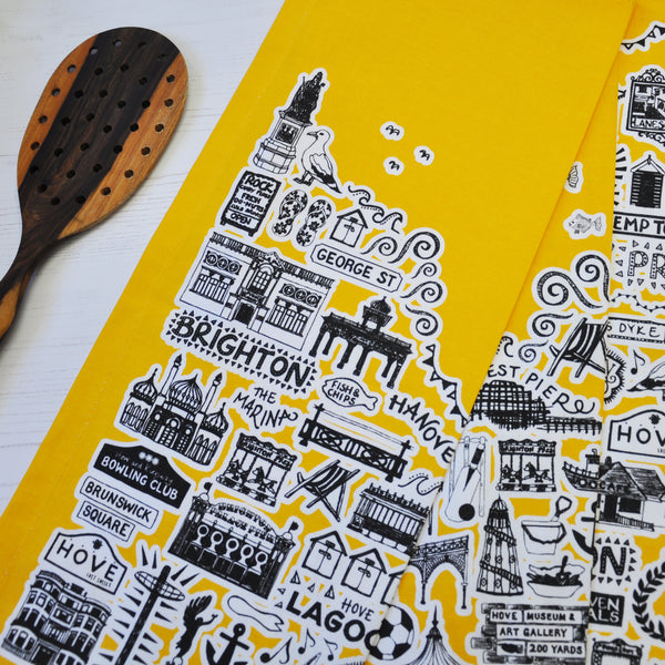 Brighton yellow illustrated tea towel