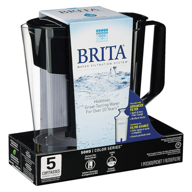 Brita - Soho Pitcher Water Filter - Black - Case Of 2