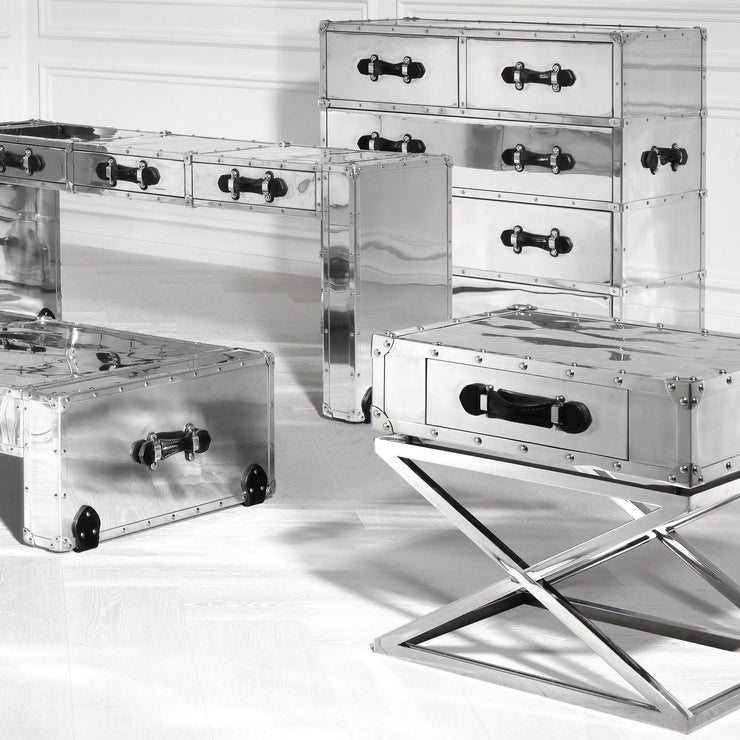 Eichholtz Barclay Polished Aluminium Side Table