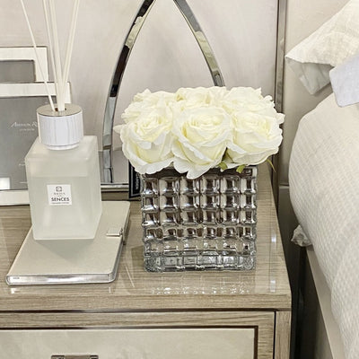 Lge Square Glass & White Rose Display