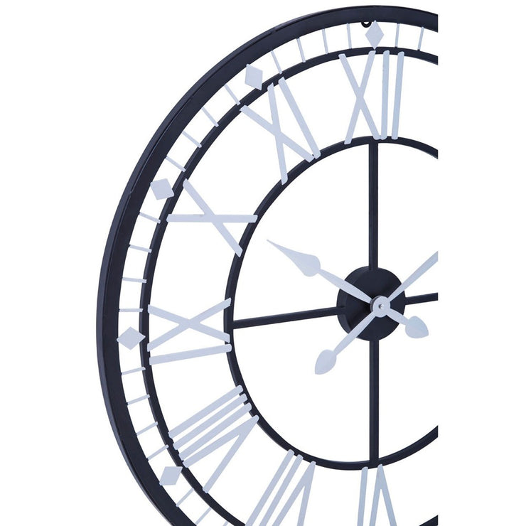 Skeletal Wall Clock With Black Finish Frame