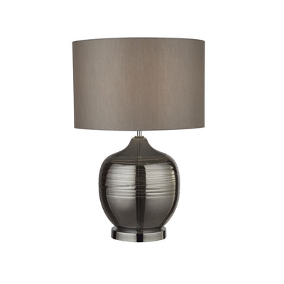 Smoked Ridge Detail Glass Table Lamp With Grey Drum Shade