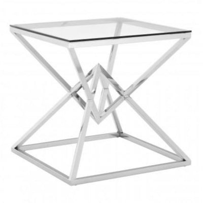 Pyramid Steel Silver Side Table