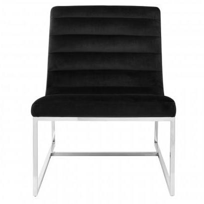 Palmer Velvet Black Curved Chair