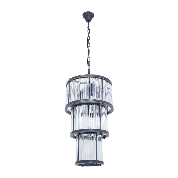 La Sala 3 Tier Chandelier Black