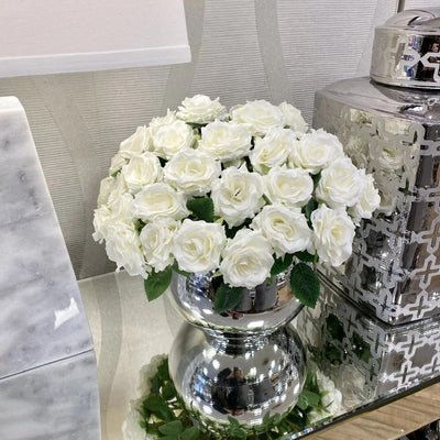 Sml White Rose in Mirrored Bowl