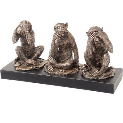Libra Millbeck Bronze Finish Wise Monkeys Sculpture