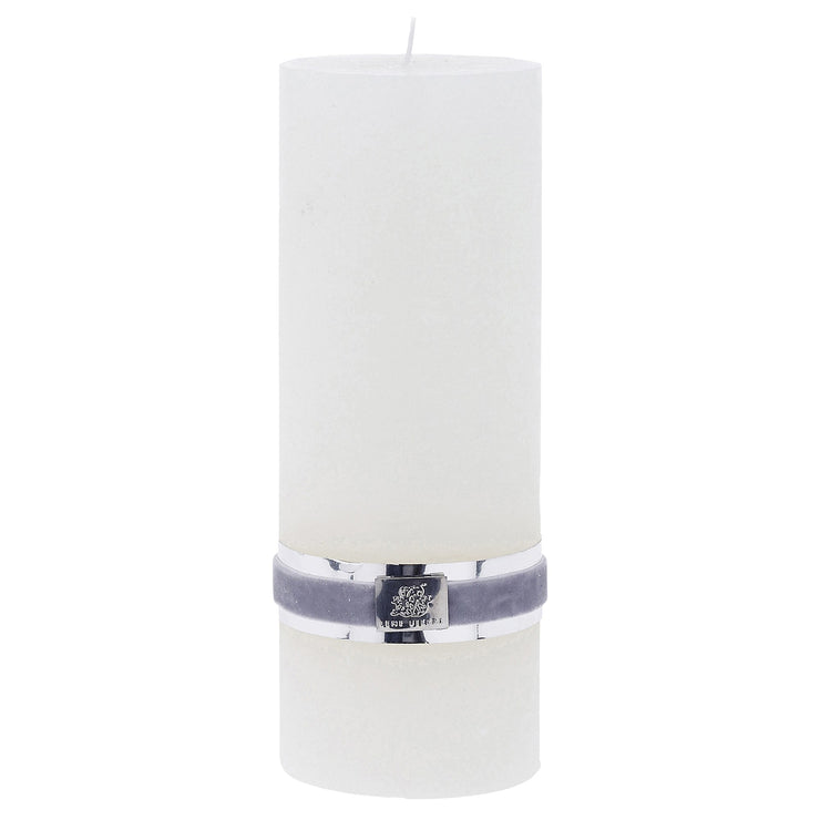 Med White Rustic Pillar Candles