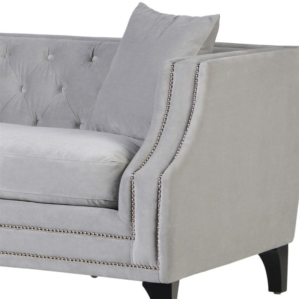 Dove Grey Button Back Studded Sofa