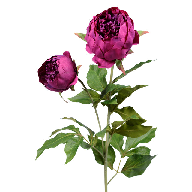 Dark Pink Double Peony Spray