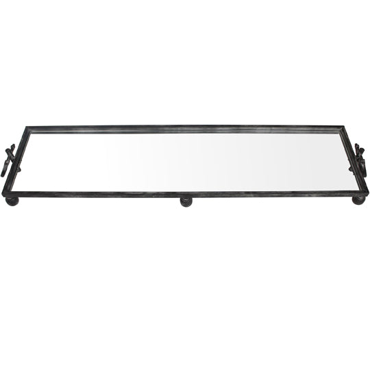 Libra Large Black Metal Mirrored Base Tray