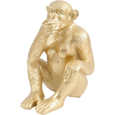 Libra Large Speak No Evil Polyresin Gold Monkey Sculpture