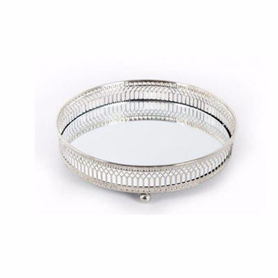 Round Mirrored Candle Plate