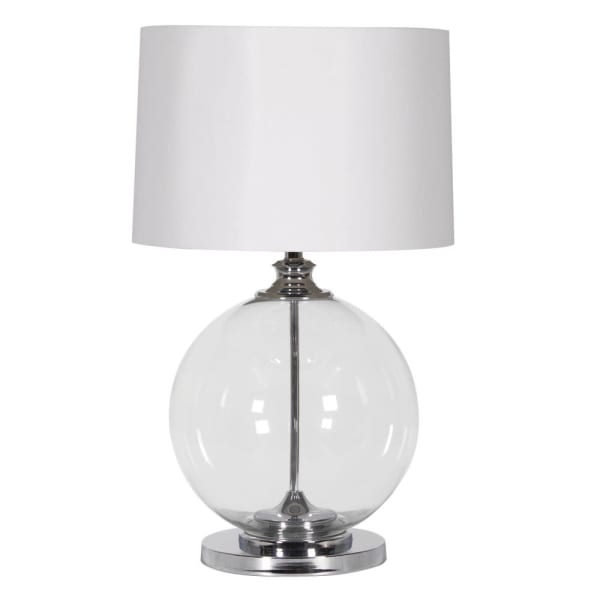 Clear Glass Ball Lamp with White Shade