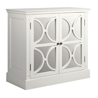 White 2 Door Circles Mirrored Sideboard
