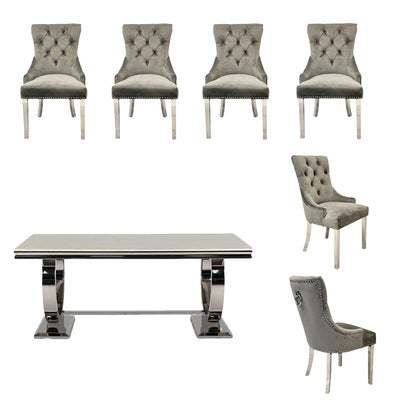 Arianna Dining Table & 6 x Grey Chester Dining Chairs